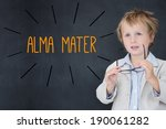 Small photo of The word alma mater against schoolboy and blackboard