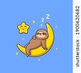 cute sloth sleeping on a... | Shutterstock .eps vector #1900620682