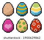 pack of pixel easter eggs | Shutterstock .eps vector #1900629862