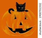 Black Cat Sitting In A Pumpkin