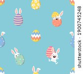 cute easter eggs and bunny ears ... | Shutterstock .eps vector #1900745248