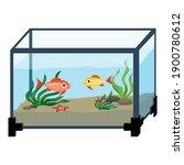 Aquarium In Room Icon. Cartoon...