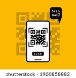 scan qr code on smartphone.... | Shutterstock .eps vector #1900858882