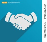 handshake icon on blue... | Shutterstock .eps vector #190086662