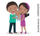 parent's love. a happy little... | Shutterstock .eps vector #190092035