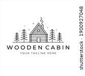 Wooden Cabin Line Art Logo...