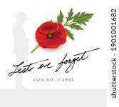 anzac day banner with... | Shutterstock .eps vector #1901001682