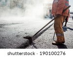 workers making asphalt with... | Shutterstock . vector #190100276
