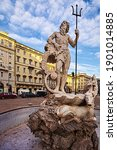 Small photo of TRIESTE, ITALY - FEBRUARY 21, 2016: View of the statue of Neptune on the fountain at Piazza della Borsa in Trieste, Italy.