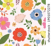 seamless pattern colorful flora ... | Shutterstock .eps vector #1901072278
