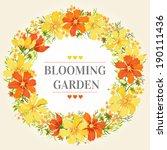 summer floral wreath of flowers ... | Shutterstock .eps vector #190111436