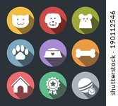 flat vector pet icon set   dog  ... | Shutterstock .eps vector #190112546