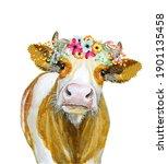 Cow Watercolor Illustration...