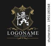 coat of arms lion crest design...   Shutterstock .eps vector #1901180368
