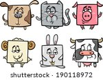 Stock vector cartoon vector illustration of funny square animals and pets characters 190118972