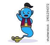 cute kawaii blue genie mascot...   Shutterstock .eps vector #1901254372