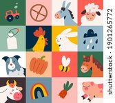 Farm Animals Poster With Cute...