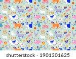 cute farm animals seamless... | Shutterstock .eps vector #1901301625