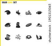 usa signs icons set with fbi...