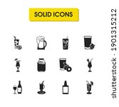 beverage icons set with...