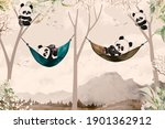 Cute Pandas Lying In Hammock...