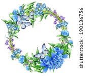 template with a wreath of... | Shutterstock . vector #190136756