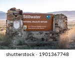 Small photo of Fallon, Nevada USA - January 20, 2021: Entrance sign to the Stillwater National Wildlife Refuge which is located just East of Fallon in the Nevada desert.