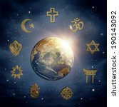 planet earth and religious... | Shutterstock . vector #190143092