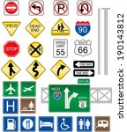 highway and road signs | Shutterstock .eps vector #190143812
