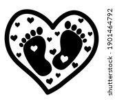 cute baby footprint inside... | Shutterstock .eps vector #1901464792