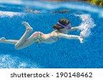 happy active underwater child... | Shutterstock . vector #190148462