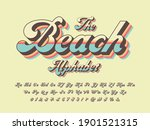 a groovy hippie style alphabet... | Shutterstock .eps vector #1901521315