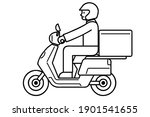 deliveryman on a motorcycle.... | Shutterstock .eps vector #1901541655