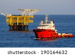 oil platform and a supply...   Shutterstock . vector #190164632
