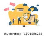 cyber security concept in flat...   Shutterstock .eps vector #1901656288