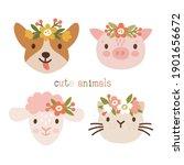Vector Set Of 4 Cute Animals ...