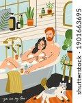 couple in love taking bath...   Shutterstock .eps vector #1901663695