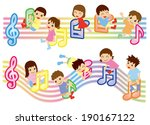 musical score and kids  asian  | Shutterstock .eps vector #190167122