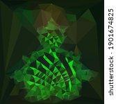Intricate Dark Green Cubist...