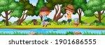 children fishing in nature... | Shutterstock .eps vector #1901686555