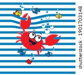 red funny crab on blue stripe.... | Shutterstock .eps vector #1901703148