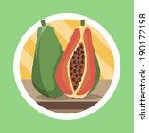 papaya flat design illustration   Shutterstock . vector #190172198