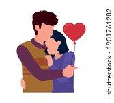 loving couple embracing each... | Shutterstock .eps vector #1901761282