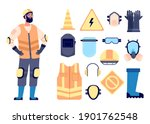 builder safety equipment.... | Shutterstock .eps vector #1901762548