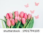 Pink Tulips On White. A Bouquet ...