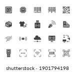 rfid  qr code  barcode flat... | Shutterstock .eps vector #1901794198
