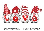 love card. four gnomes with the ... | Shutterstock .eps vector #1901849965