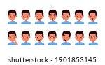 kid face emotions set. little... | Shutterstock .eps vector #1901853145