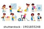kids cleaning home. children...   Shutterstock .eps vector #1901855248