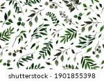 seamless pattern with greenery... | Shutterstock .eps vector #1901855398